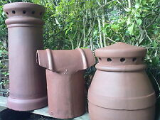 CHIMNEY POTS X 2 (RED) + 2 X Pepper Pots (RED) + 1 X Hooded Cowl (RED)  All Clay