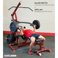 2016 Body-Solid GLGS100P4 Corner Leverage Gym Pack & 255 lbs Rubber Grip Plates