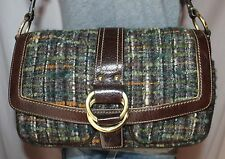 COACH Woven Multicolor Brown Leather Shoulder Hobo Tote Slouch Purse Bag