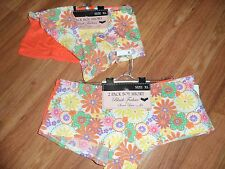 4 panties hipster boy cut briefs ~ XL / 8 ~ orange boy short ~ polyester