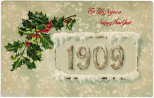 1909 New Year Embossed card: English Language Greetings, published in Germany