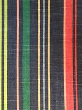 BLUE  RED  LIME STRIPED COTTON WOVEN  LINEN CANVAS UPHOLSTERY FABRIC