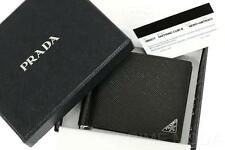 NEW PRADA BLACK SAFFIANO LEATHER LOGO WALLET CARD HOLDER CASE MONEY CLIP  W/BOX