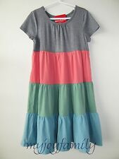 HANNA ANDERSSON Girl Love Twirl Dress Colorblock Pink Blue Green 120 6-7 NWT