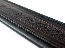 "Celtic Black Real Leather 2.7"" Extra Wide Soft Padded Acoustic Bass Guitar Strap"