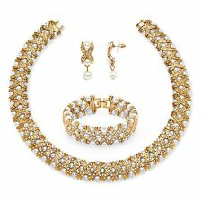 PalmBeach Jewelry Pearl and Crystal 3-Piece Set in Yellow Gold Tone