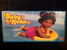 Mattel 1984 Doll Baby Kickie swims flippers paddleboard Vintage African American