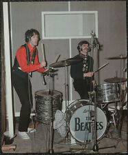 THE BEATLES POSTER PAGE 1967 PAUL MCCARTNEY & RINGO RECORDING SGT PEPPER . F11A