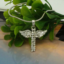 Jesus Cross and Angel Wing Necklace New 925 Silver Ladies Crystal Jewelry @140