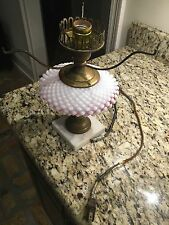 "Vintage  Fenton Cranberry Hobnail Lamp "" As Is"""