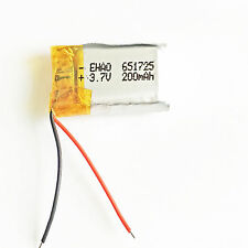 200mAh 3.7V Li po Polymer rechargeable Battery For MP3 MP4 GPS bluetooth 651725