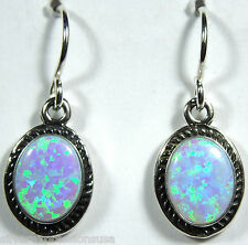 Handcrafted Blue Fire Opal 925 Sterling Silver Dangle Earrings - Made in USA