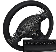 FOR RENAULT SCENIC MK1 100% REAL BLACK LEATHER STEERING WHEEL COVER WHITE STITCH