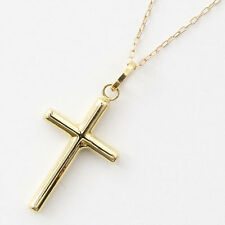 Solid 18K Yellow Gold Hollow Cross Pendant w/Solid 10K Yellow Gold Chain 17.75""