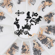 3D Metal Nail Art Decor Slice Black Bronze Stickers Decal Foil Wheel Popular