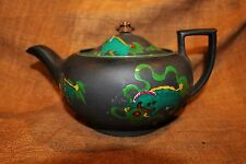 "Rare Wedgwood Kenlock Wear ""Dragon"" Enamel Decorated Black Basalt Teapot c. 1895"