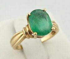NATURAL 1.25ct VIVID Emerald Oval Solitaire Ring Yellow Gold SZ 5.75  *SALE!*