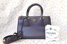 100% Authentic PRADA Saffiano Double Zip Lux Small Tote Purple Gold Bag ON SALE!