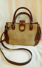 Brahmin Handbag Leather Cognac Tuscan Raffia SACHEL  & SHOULDER Bag Made in USA