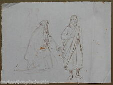 DISEGNO BOZZETTO DRAWING 1800 CHINA SU CARTA FIGURE MASCHILI