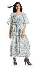 Women Kaftan Dress Abaya Jalabiya Gown African Dashiki Gray & White Free Size