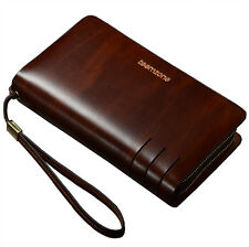 Men's Real Leather Cowhide Wrist Clutch Handbag Wallet Organizer Briefcase