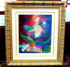 "ORIGINAL ART Artist Linda, Le Kinff ""Constellation"" Nude Woman COLORFUL VIBRANT"
