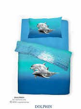 Double Bed Duvet Bedding Set Dolphin Animal Print Sea Life Aqua Blue