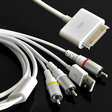 AV Composite Video to TV-RCA Cable USB for Apple iPad 1 iPad 2 iPhone iPod White