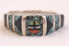 Vintage SOUTHWESTERN Sterling Silver TURQUOISE Channel Inlay RING, size 8.5