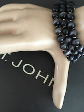 NEW ST JOHN KNIT DESIGNER BRACELET SILVER COLOR & BLACK PEARLS