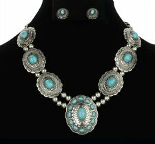 NEW Antiqued Silver Concho Turquoise Bead Western Necklace Set