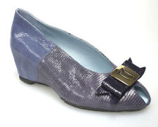 THIERRY RABOTIN 805B Women's wedge heel peep toe shoe in blue sahara snakeskin
