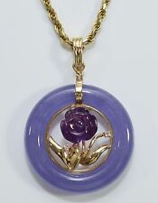 14K Gold Diamond Carved Amethyst Lavender Jade Necklace Pendant w Bonus Chain