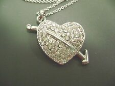 NWOT-  16' LONG SILVERTONE PAVE CRYSTAL HEART/ARROW PENDANT GIFT BOXED  NECKLACE