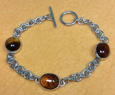 Vintage 925 Sterling Silver and Amber Stones Ladies Bracelet