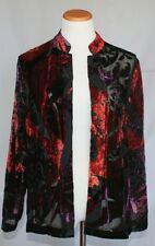 Chicos Collection Jacket 2 Large 12 14 Burnout Blythe Red Velvet NWT 10