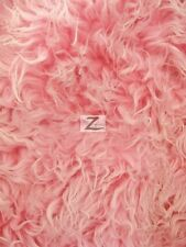 "FAUX FAKE FUR JAVA FROSTED LONG PILE FABRIC - Hot Pink/White -60"" WIDTH SOLD BTY"