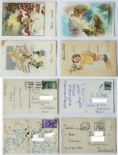 CARTOLINA EPOCA AUGURI DI BUON NATALE 4 pezzi  1950 1952 DATE BOLLI E TIMBRI