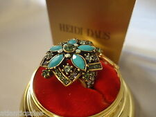 Heidi Daus Turquoise Corsage for the Hand ring Size 8 New with Box & Tag