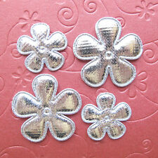 "US SELLER - 60 x Mix (1"" & 1.5"") Padded Silver Shiny Felt Flower Appliques ST609"