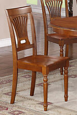 Set of 6 Plainville dinette kitchen & dining chairs w/ wood seat in cherry brown