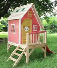 Peek-A-Boo Playhouse, Kid's Cubby House, Cubbie With Slide & Chimney - Pink