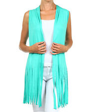 "Back in Stock! WESTERN VINTAGE Inspired ""MINT"" VEST FRINGES CARDIGAN L or XL"