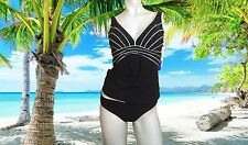 NWT GOTTEX V neck BLACK & WHITE Ray of Light  2 pc bathing suit tankini sz - 12