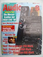 Audio 8/90. PIONEER CT 447, ecouton lql 155, ELAC el 160 2. tedesco HD 316, sonofer 6