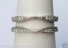 Solitaire Enhancer 1/4c Diamond Ring Guard Wrap 10k white Gold Vintage Milgrain