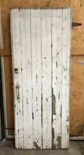 Vtg WOOD BARN DOOR Red architectural salvage Interest Sliding Door Shabby Latch