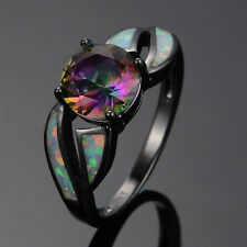 Round Cut Mystic Rainbow Topaz Ring Fire Opal Black Gold Filled  Jewellery Gifts