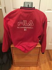 Fila international italy reversible pullover windbreaker fleece Large Vtg Red